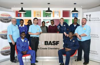 Marius Nel (back left) is seen with the BASF team and the six contestants from the Toyota T-TEP competition.